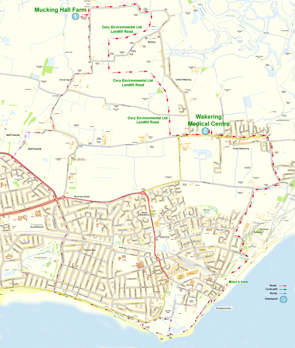 Map of Southend Bikeathon